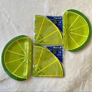 Summer Limes Picnic Plate & Napkin Set NWT